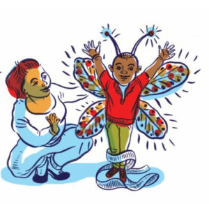 Illustration of a child empowered through play therapy
